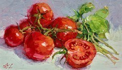 Tomatoes and Basil III by Lana Okiro -  sized 12x7 inches. Available from Whitewall Galleries